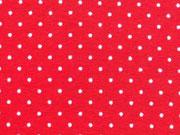 RESTSTÜCK 41 cm Jersey Mini Punkte, weiss auf rot