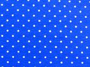 Jersey Mini Punkte, weiss auf royalblau