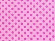 RESTSTÜCK 28 cm Jersey Punkte 2mm - pflaume auf rosa