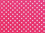 RESTSTÜCK 42 cm Jersey Punkte 2mm - weiss auf rot
