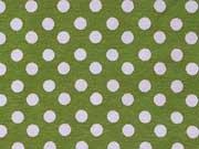 Jersey Punkte 0,6cm  - weiß auf hellgrün (pistazie