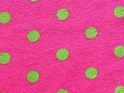 Jersey hellgrüne Punkte 0,7cm auf Pink