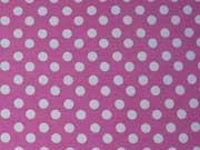 RESTSTÜCK 48 cm Jersey Punkte 0,6cm , weiß auf pastell-pink (rosa)