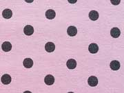 Jersey graue Punkte 0,7cm  auf Rosa