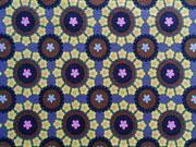 Jersey Rädchen & Blumen, graublau/hellgrün