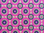 Jersey Rädchen & Blumen, pink hellgrün