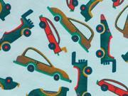 Reststück 63cm Jersey Retro Cars-mintgrün bunt