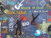 Reststück 62cm Digitaldruck Jersey Rock N Roll - dunkelblau