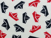 Jersey Papierschiffchen navy/rot auf weiß