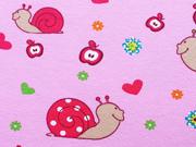 RESTSTÜCK 25 cm Jersey Schnecken & Herzen, rosa