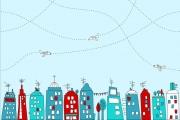 Blaubeerstern Jersey In der Stadt, lichtblau/rot