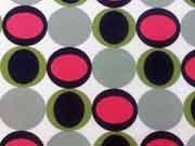 Jersey große Kreise/Ovale Retrolook-bunt auf weiss