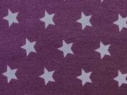 Jersey Sterne 1,5 cm helllila auf lila