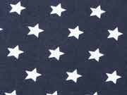RESTSTÜCK 78 cm Jersey Sterne 1,4 cm - dunkelblau/weiss
