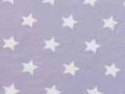 Jersey Sterne 1,4 cm - flieder/weiss