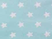 RESTSTÜCK 45 cm Jersey Sterne 1,4 cm - helles mint/weiss