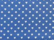 Jersey Sterne 0,7cm-weiß auf jeansblau