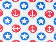 RESTSTÜCK 35 cm Jersey Anker & Sterne auf rot blauen Kreisen, weiß
