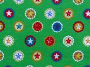 Jersey Sterne& Kreise/ Sterne Buttons - grün