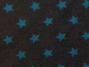 RESTSTÜCK 89 cm Jersey Sterne 1,4 cm  - kohle (graubraun) / petrol