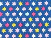 Jersey Paisley & Stars Sterne bunt auf blau