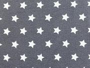RESTSTÜCK 28 cm Jersey  Sterne 0,8cm-weiß auf dunkelgrau