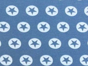 RESTSTÜCK 74cm Jersey Stern im Kreis 1,7 cm -hellblau/jeansblau