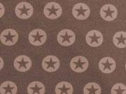 Jersey Stern im Kreis 1,7 cm -hellbraun/dunkelbraun