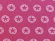 Jersey Stern im Kreis 1,7 cm -rosa auf himbeer
