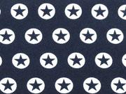 RESTSTÜCK 87 CM Jersey Stern im Kreis 1,7 cm -weiss dunkelblau