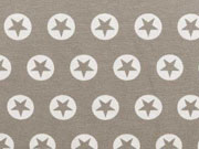 Jersey Stern im Kreis 1,7 cm -weiss / taupe