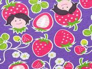 RESTSTÜCK 27 cm Jersey Erdbeer Mädchen Hamburger Liebe Hilco,dunkelpink lila