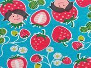 RESTSTÜCK 25 cm Jersey Erdbeer Mädchen Hamburger Liebe, türkis