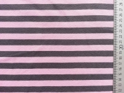 Streifenjersey 1 cm - grau/rosa