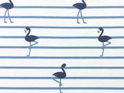RESTSTÜCK 44 cm Jersey Streifen & Flamingos, jeansblau weiss