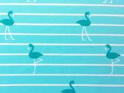 Jerseystoff Streifen Flamingos, weiss mint