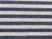 Jersey Streifen - grau melange/jeansblau