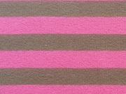 RESTSTÜCK 85cm Streifenjersey 1 cm - pink taupe