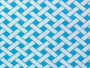 Jersey Weave, türkis/weiss