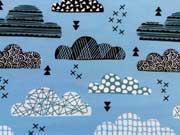RESTSTÜCK 38 cm Jersey gemusterte Wolken, himmelblau