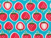 RESTSTÜCK 36 cm Jersey Erdbeeren Hamburger Liebe Yummy Strawberry, türkis