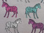 RESTSTÜCK 47 cm Jersey Zebra, türkis pink grau