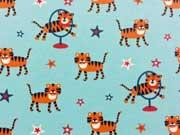Reststück 72cm Jersey Zirkus Tiger - hellblau