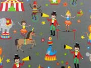 Reststück 48cm Jersey Zirkus Welt - grau