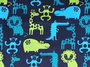 RESTSTÜCK 27 cm Jersey Zootiere-dunkelblau/hellgrün