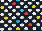 Jerseystoff bunte Punkte  0,7cm auf schwarz