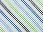 Jersey Rauten/diagonal Streifen, hellblau