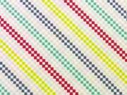 Jersey Rauten/diagonal Streifen - rosa/bunt