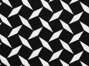 RESTSTÜCK 54 cm Jersey graphisches Muster, schwarz weiss