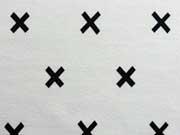 RESTSTÜCK 30 cm Jersey kleine Kreuze, schwarz auf weiss